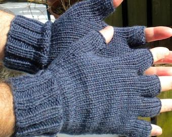 Half Finger Gloves Men's Blue Half Finger Gloves Hand Knit Denim Blue Washable Merino Wool Hand Warmers Men's Half Finger Blue Merino Gloves