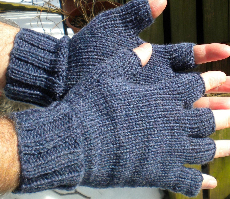 Half Finger Gloves Men's Blue Half Finger Gloves Hand Knit