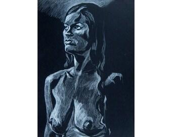 Head and Shoulders, original artwork on black paper life drawing nude female figure