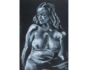 Over the Shoulder, original artwork on black paper life drawing nude female figure
