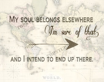 My Soul Belongs Elsewhere Print Map Globe Wanderlust Destiny Arrow Travel Art Printable