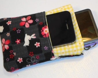 Floral Padded Phone Case / Sakura Blossom Camera Bag / Modern Japanese Gadget Sleeve / Electronics Case Multi Pocket and Key Clip