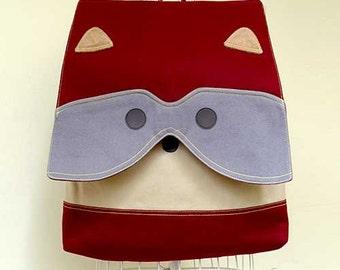 Laptop Backpack, Laptop Bag, Vegan Bag, Womens Backpack, Mens Backpack, Diaper Backpack Bag, Raccoon Bag - Burgundy Beige Color
