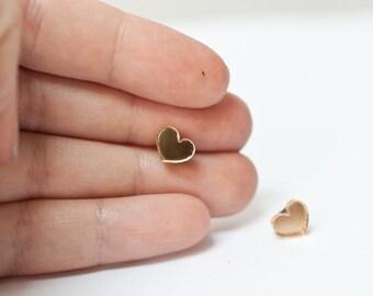 gold mirrored heart stud earrings - gold heart studs - gold heart earrings - everyday gold earrings - heart earrings - heart studs