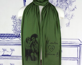 Anne Boleyn & Henry VIII Screen printed Cotton Scarf