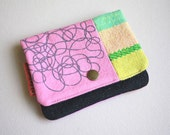 SALE - Lil' Pouch - Handwoven and Printed Pink Squiggles