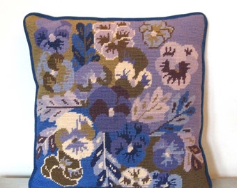 Bargello Style Blue Floral Pillow pansies