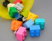the square tie tack or pin - made with 2x2 toy bricks - red, orange, yellow, lime, green, blue, black, gray ,white, teal