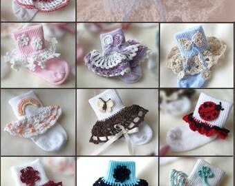 Dainty Sock Trims II Crochet Pattern - 10 Sock Trims & 10 Appliques