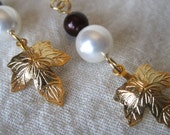 Gold and Wine Red Grape Leaf and Pearl Earrings