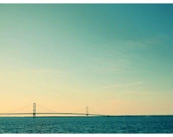 Landscape Photograph - Michigan Photograph - Mackinac Bridge - Expanse - Fine Art Photograph  - Blue Art - Straits of Mackinac - U.P. - Bock