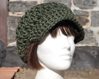 Moss Green Newsboy Cap crocheted in 50/50 Wool/Acrylic Blend - Green Hat - Women's Winter Hat with Brim