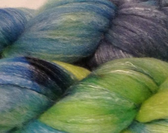 Green and Blue hand painted Merino And Bamboo Roving 4 oz
