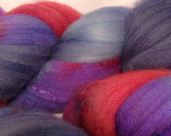Merino and Silk Roving Blue, Red and Purple.  4oz