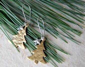 Spruce Tree Earrings - Brass Tree Earrings - Tree Earrings - Tree and Star Earrings - Woodland Fashion - boho chic