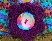 Easy and Colorful Tropicana Button Up Neckwarmer Cowl Scarf Crochet Pattern