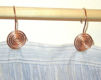 12 Solid Copper Swirl Shower Curtain Hooks Handcrafted Wire Metalwork