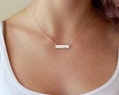 Silver Bar Necklace, Gemstone Dot Bar, White Topaz Bar Necklace, Flush Set Gem, Modern Sterling Silver Jewelry, Minimalist Necklace