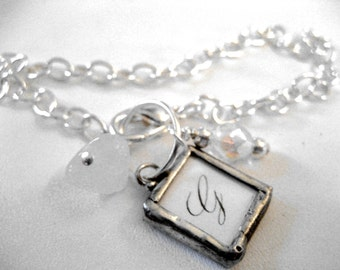 Custom initial soldered mini charm bracelet with crystal accents on silver link chain personalized with your photo or text