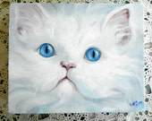 "Custom Cat Oil Painting Portrait, artist Robin Zebley 6 x 8"""