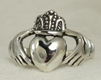 Large Mens Claddagh ring, Irish friendship/wedding. handfasting, Solid Sterling silver, sizes up to 16