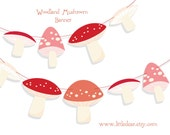 Printable Woodland Mushrooms Banner PDF digital download Scrapbook Party Decorations