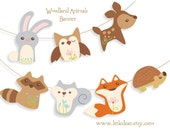 Printable Woodland Animals Banner Set 1 PDF digital download Scrapbook clipart Baby Shower Party Decorations