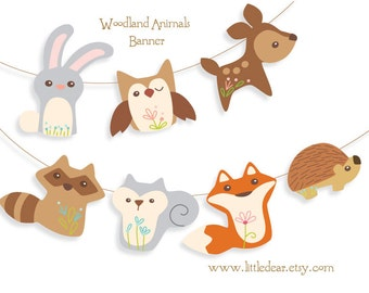 Printable Woodland Animals Banner PDF