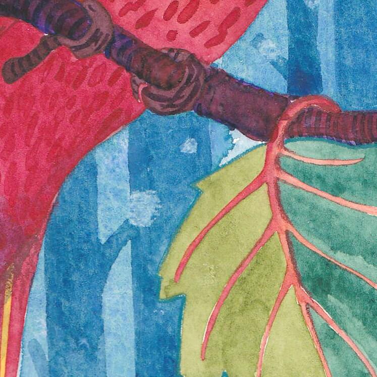 Snowy Cardinal Watercolour Art Reproduction Bird Wall Art