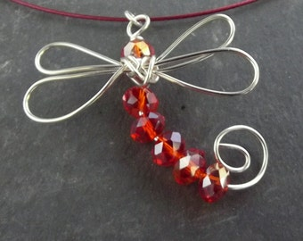 Orange Crystal Dragonfly Silver Wire Dragonfly Orange Dragonfly Pendant Necklace