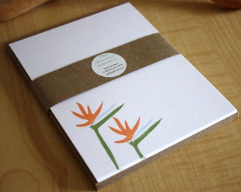 Birds of Paradise - Tropical Flower Note Cards - Hand Printed Stationery - Set of 6