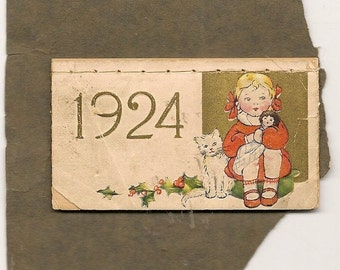 1924 CALENDAR with Girl and Cat Vintage