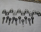 20 tiny keys and padlocks silver gun metal NEW