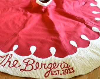PERSONALIZED Christmas Tree Skirt - Felt with Chenille and Ivory  Border