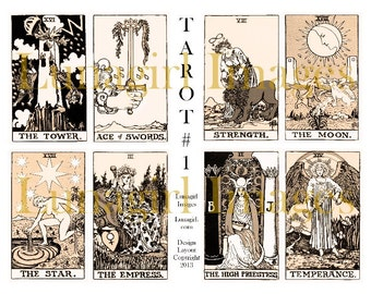 Sepia VINTAGE TAROT digital collage sheet Victorian antique images art cards occult magical fortune gypsy ryder alchemy witches DOWNLOAD