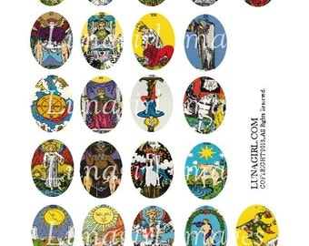 Vintage TAROT CARDS All Major Arcana digital collage sheet 30x40mm Oval pendants magical occult fortune gypsy Victorian art images DOWNLOAD