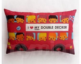 "Car Pillow, Red Pillow, London Bus Pillow, Lumbar Pillow, Cotton, Stuffed Toy, Throw Pillow, Cushion, Travel Pillow, Childrens Toy, 17 x 10"""