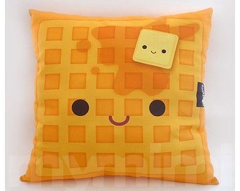 "16 x 16"" Decorative Pillow, Waffle Pillow, Breakfast Food, Kawaii, Stuffed Toy, Home Decor, Kids Room Decor, Room Decor"