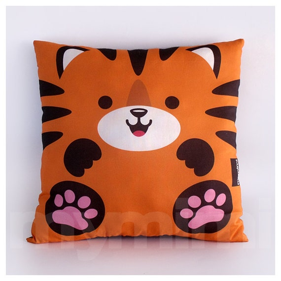 Jungle Animal Pillow : 12 x 12 Tiger Pillow Jungle Animals Stuffed Animal