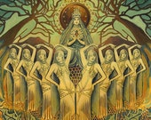 Bee Goddess Art Print ACEO Mini Altar Art Deco Honey Queen Pagan Mythology Psychedelic Bohemian Gypsy Goddess Art