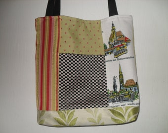 Rosa's Tote-Red, Black, and Green with Frankfurt Panel