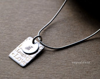 LIVE LAUGH LOVE initial choice sterling and 24k gold pendant necklace by srgoddess
