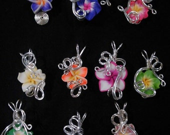 WHOLESALE - 5 Assorted - Aromatherapy Wire Wrapped  Polymer Clay Tropical Flower Bead PERFUME Pendant