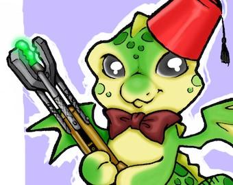 Geronimo Doctor Who Dragon Doodle Art Print