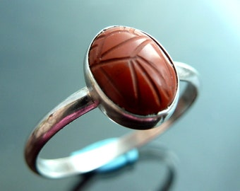 Scarab Beetle Jasper Gemstone carved ring in sterling silver bug size 7.5 stacker rings