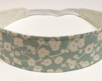 Headband Reversible Fabric   -  Blue, Seafoam, Cream Floral  -  Headbands for Women  -  LAUREN BLUE