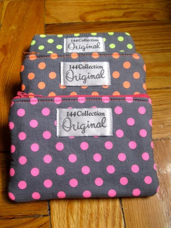 Hot Pink Neon Polka Dots Coin Wallet, Pink Polka Dot Change Wallet, Neon Small Wallet, Fabric Wallet, Neon Pouch, Fabric Wallet, Coin Purse