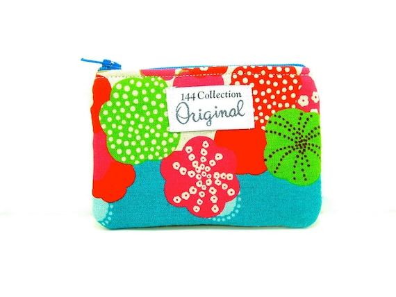 Echino Flap Turquoise Floral Change Coin Purse Wallet
