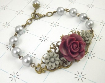 Burgundy and Gray Filigree Flower Bracelet