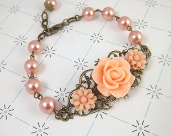 Rose Peach Filigree Flower Bridesmaids Bracelet